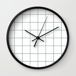 Graph Paper (Dark Green & White Pattern) Wall Clock