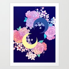 Floral Moon Art Print