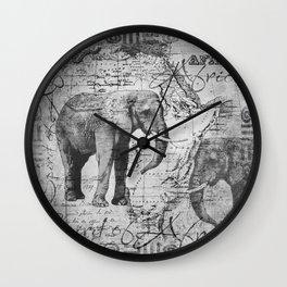 African Spirit Vintage Elephant black white Wall Clock