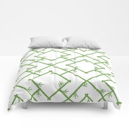 Bamboo Chinoiserie Lattice in White + Green Comforters