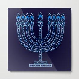 Happy Hanukkah Festival Holiday Decoration JUDAICA Metal Print