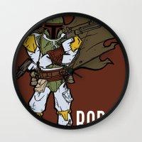 boba fett Wall Clocks featuring Boba Fett by Twisted Dredz