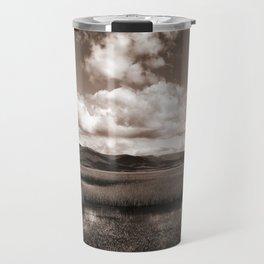 Minimal Monochrome Lake Scape Travel Mug