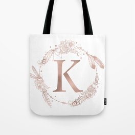 Letter K Rose Gold Pink Initial Monogram Tote Bag