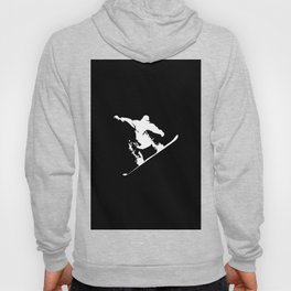 Snowboarding White Abstract Snow Boarder On Black Hoody