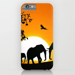 Elephant silhouettes at sunset iPhone Case