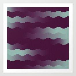 Mint Plum Gradient Wave Art Print