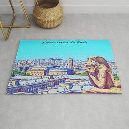 Notredame de Paris with Cartoon Art design Rug