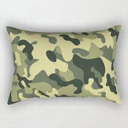 Green Tan Black Camouflage Pattern Texture Background Rectangular Pillow