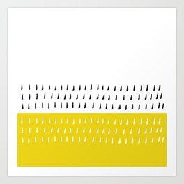 Black & white rain on yellow Art Print