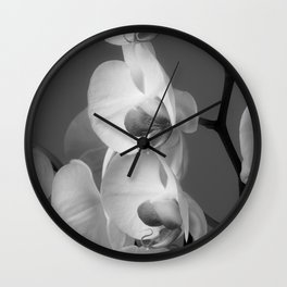 Orchids in Black and white Wall Clock