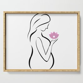 Pregnant mother holding a pink lotus flower Serving Tray