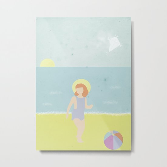 Girl at the beach with kite and ball in the 1950's vintage Metal Print