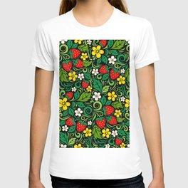 russian strawberry pattern T-shirt