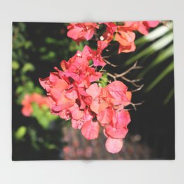 Hot Coral Floral Throw Blanket