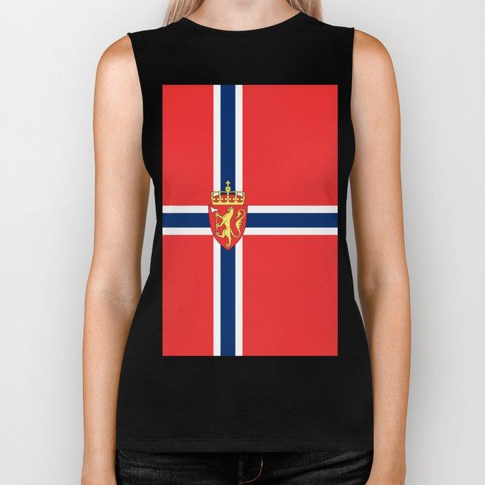 Flag of Norway Scandinavian Cross and Coat of Arms Biker Tank