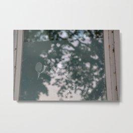 blurry window mirrors aqua tree Metal Print
