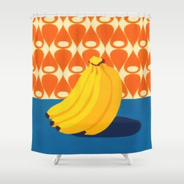 Fruit with Wallpaper (banana) Shower Curtain