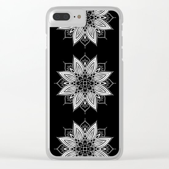 Black and White Flower Mandala Clear iPhone Case