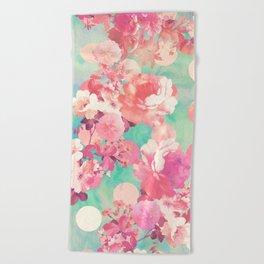 Romantic Pink Retro Floral Pattern Teal Polka Dots Beach Towel