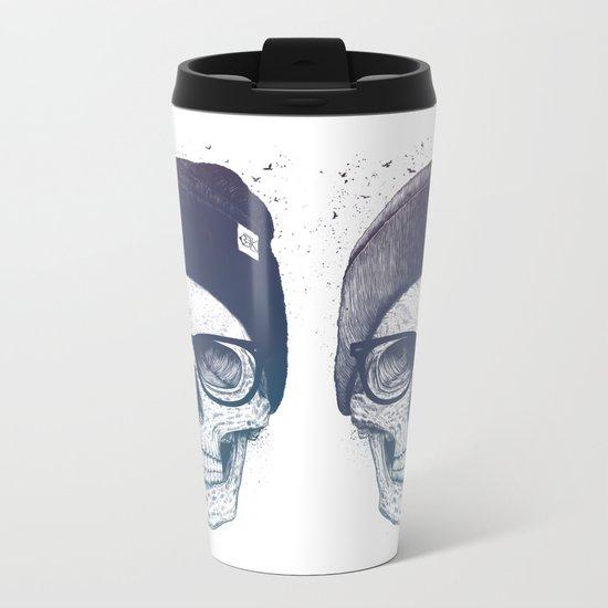Color skull in a hat Metal Travel Mug