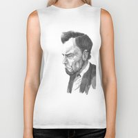 lincoln Biker Tanks featuring Lincoln 50 by David Sparvero
