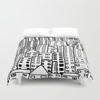 cityscape Duvet Covers featuring Cityscape Doodling by Laurel Mae