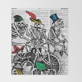 Calavera Cyclists Throw Blanket