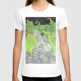 Lion statue and cute angel in the park. T-shirt