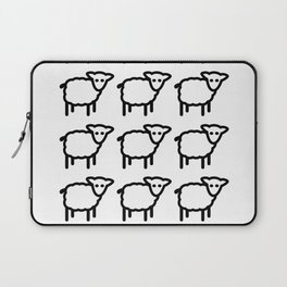 Cute Transparent Sheep Flock in Rows Monotone Light Laptop Sleeve