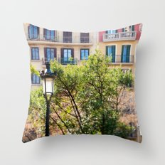 Spring time in Barcelona Throw Pillow