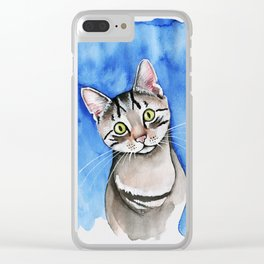 meow? // watercolor tabby cat portrait Clear iPhone Case