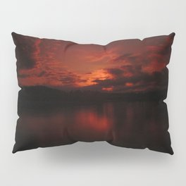 Dark Red Sunset in Montana, Water Reflection, Hues of Red, Sailor's Delight Pillow Sham