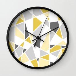 Geometric Pattern in yellow and gray Wall Clock