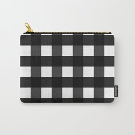 Contemporary Black & White Gingham Pattern Carry-All Pouch