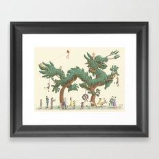 The Night Gardener - Dragon Topiary  Framed Art Print