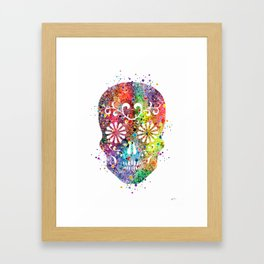Sugar Skull Watercolor Print Wall Poster Home Decor Framed Art Print