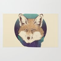 jon snow Area & Throw Rugs featuring Fox by Laura Graves