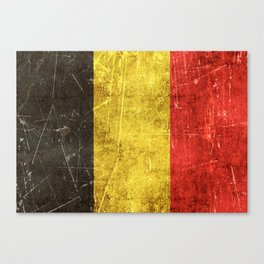 Vintage Aged and Scratched Belgian Flag Canvas Print