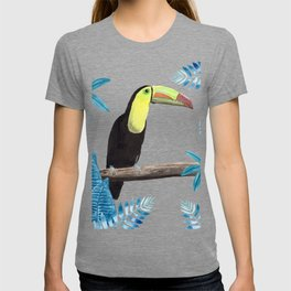 Toucan with tropical leaves in watercolor T-shirt