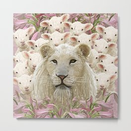Lambs led by a lion Metal Print