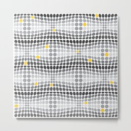 Dottywave - Grey and yellow wave dots pattern Metal Print