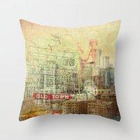 portlandia Throw Pillows featuring Portlandia by Danielle Denham