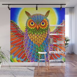 Colorful Rainbow Owl Wall Mural