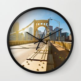 Seventh Street Bridge To Pittsburgh, Pennsylvania Wall Clock