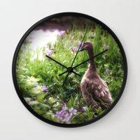 duck Wall Clocks featuring Duck by Terri Ellis