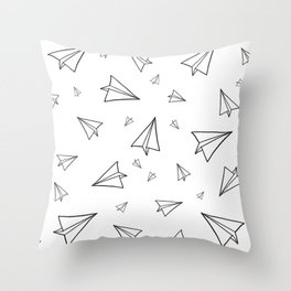 Paper Airplane Pattern   Line Drawing Throw Pillow