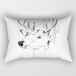 Reindeer with Christmas garland on the antler Rectangular Pillow
