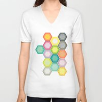 honeycomb V-neck T-shirts featuring Honeycomb Layers by Cassia Beck