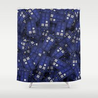 doctor Shower Curtains featuring Tardis by 10813 Apparel